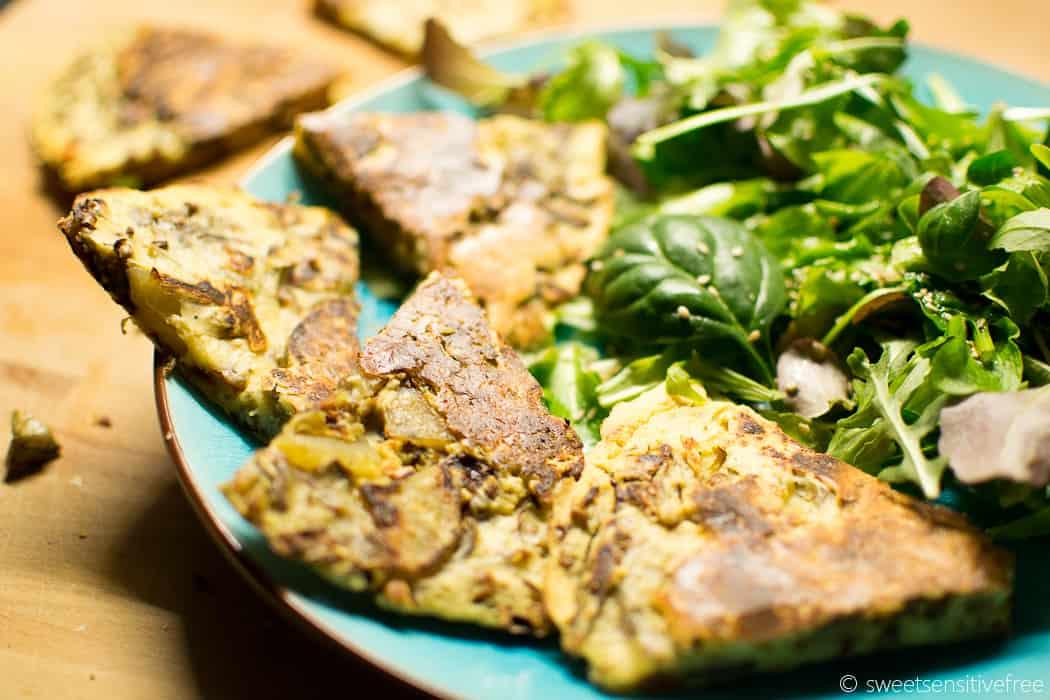 Vegan Chickpea Frittata with Veggies - Frittata vegana con farina di ceci