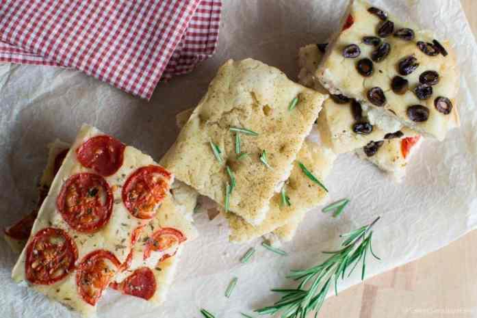 Homemade gluten free focaccia senza glutine