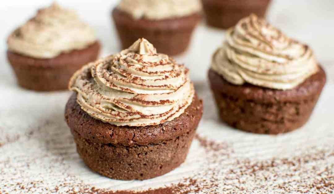 Glutenfree chocolate cupcakes with vegan coffee cream frosting