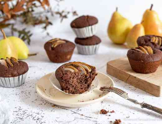 Gluten free dairy free egg free chocolate pear muffins