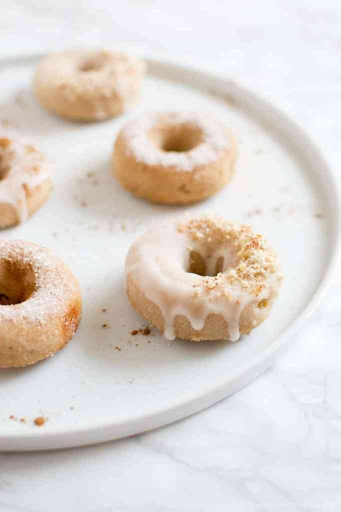Gluten free vegan baked apple cinnamon cake donuts