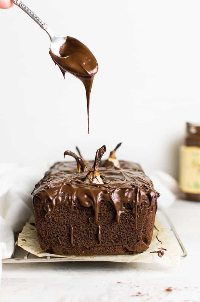 Gluten free vegan chocolate cake with pears