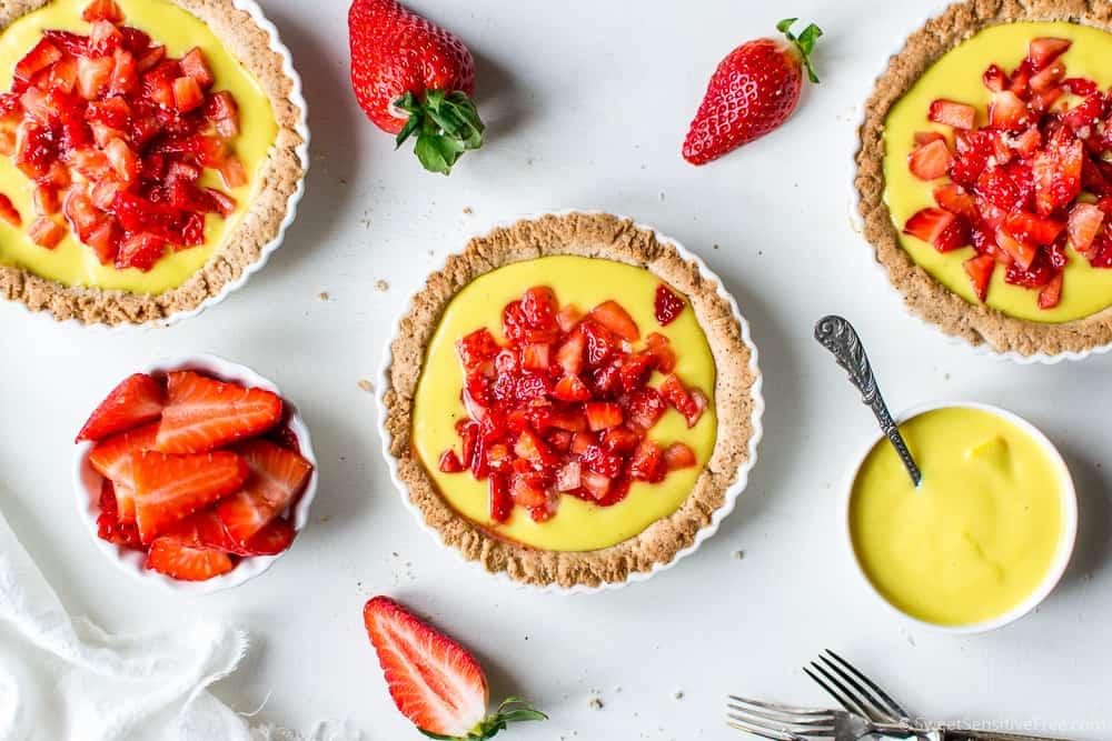 Vegan Gluten free Lemon Custard Tarts