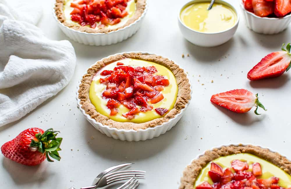 gluten free vegan tarts with vegan lemon custard and fresh berries