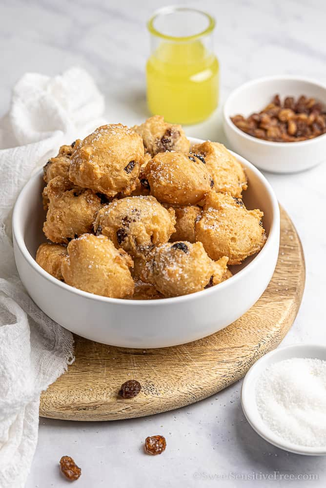 Vegan gluten free raisin fritters without eggs and milk