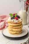 stack of gluten free vegan pancakes