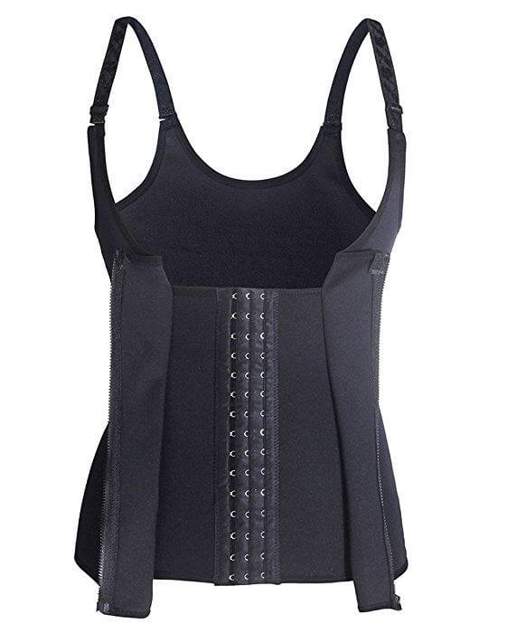A body shaping bodysuit with adjustable straps, waist cincher, a type of waist trainer for women