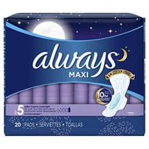 Always Extra Maxi Pads with Flexi-Wings for Overnight use, one of the best pads for postpartum