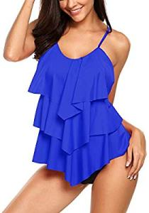 Avidlove Women's Tankini Set V-Neck Ruffle Layered 2 Piece swimming suits, best swimsuits for mommy tummy
