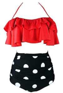 COCOSHIP Women's Retro Boho Flounce High Waist Bikini Set, best bathing suit for belly bulge