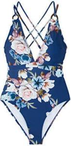 Seaselfie Women's Blue Floral Back Cross Strappy 1 Piece bathing suit, best swimsuit for tummy control