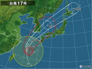 台風17号進路予想図ー日本気象協会ホームページよりー