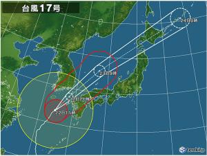 9/22 台風17号午前11時現在-日本気象協会ホームページよりー