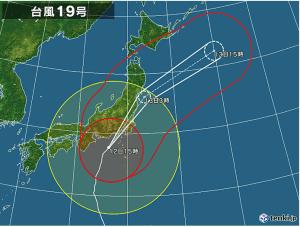 台風19号 10月12日15時現在
