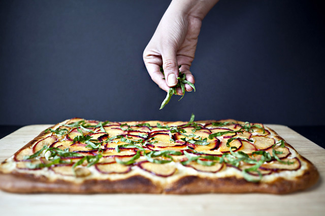 Plum and Marscapone Flatbread, Caramelized Balsamic Glaze