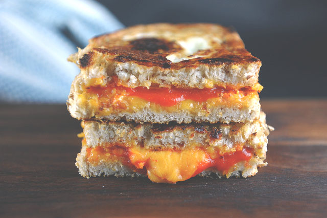 toad-in-a-hole sriracha grilled cheese // sweetsonian