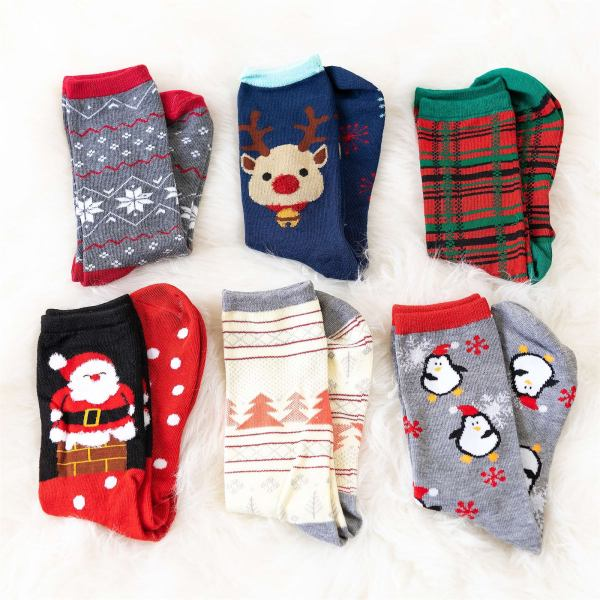 6 Pack Holiday Socks   Free Shipping