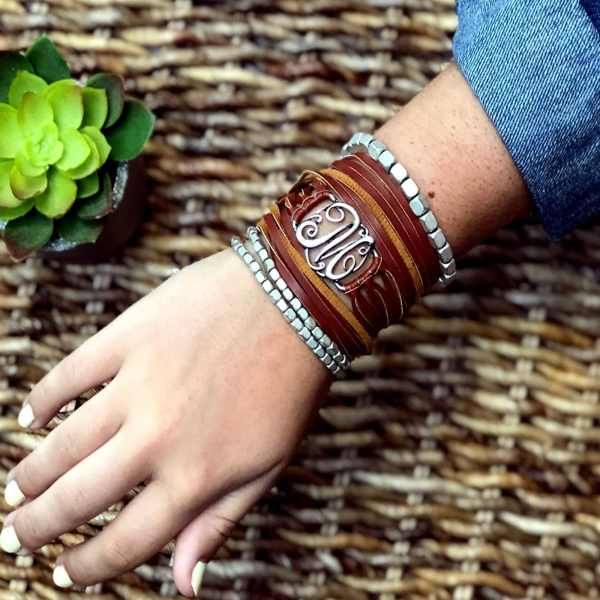 Leather Wrap Pewter Initial Bracelets | Free Shipping