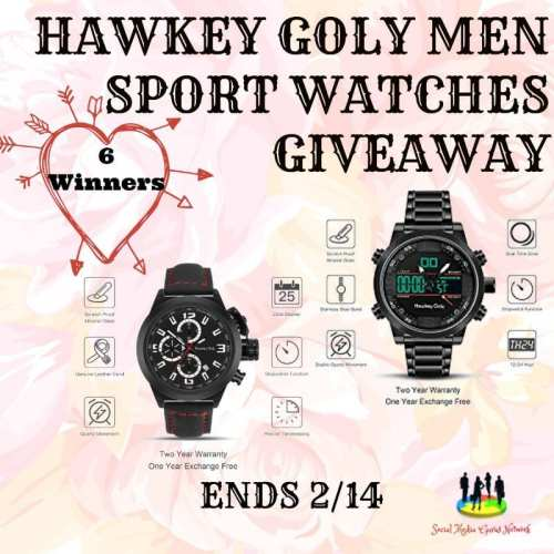 6 WIN Hawkey Goly Men Sport Watches Giveaway Ends 2/14