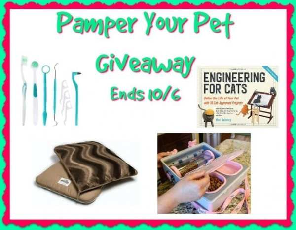 One lucky reader will be able pamper their #pet when they #win over $200 worth of prizes in the Pamper Your Pet #Giveaway when it ends 10/8.