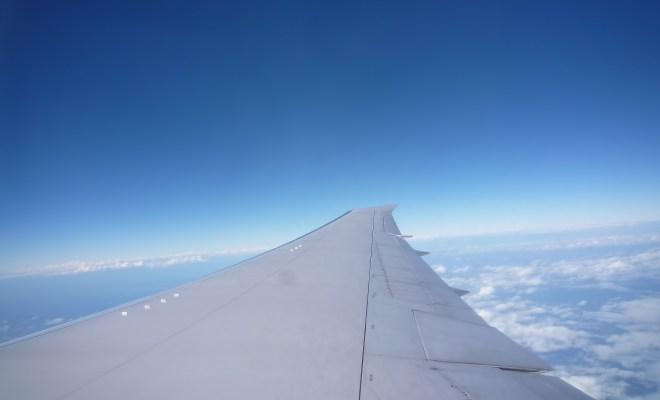 羽田空港へ向かう飛行機で
