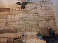 Hardwood, made from old pallets and emblazoned with beautiful words