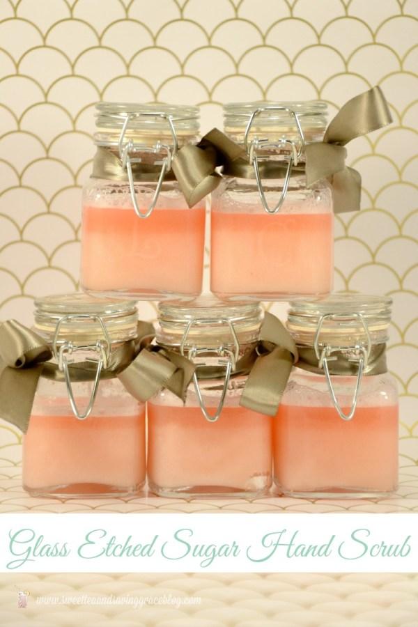 Glass Etched Sugar Hand Scrub Gift   Sweet Tea & Saving Grace