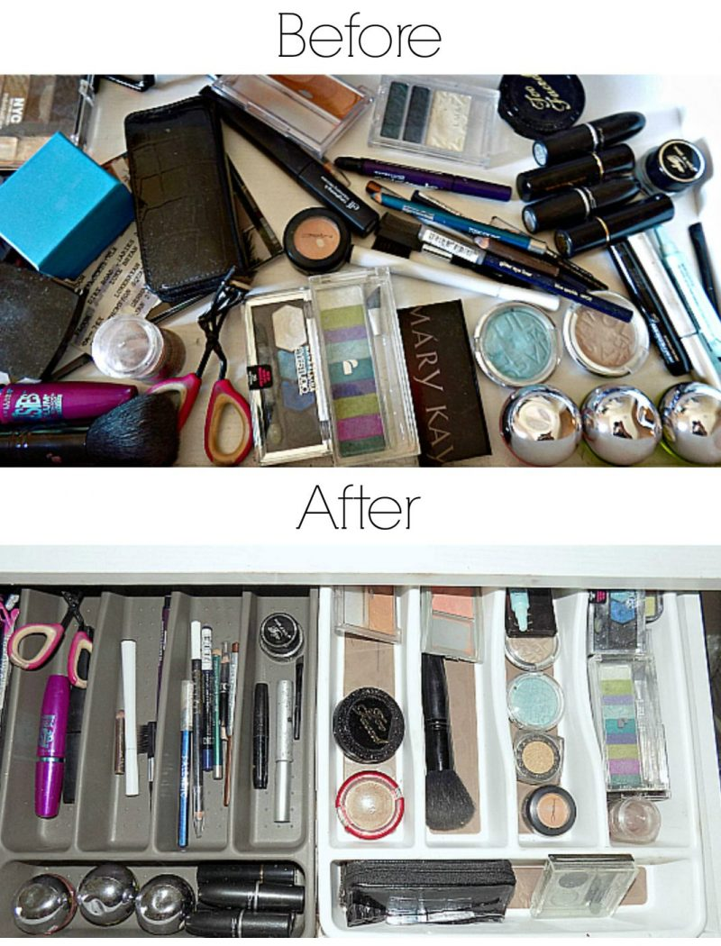 how to organize a makeup desk and a giveaway