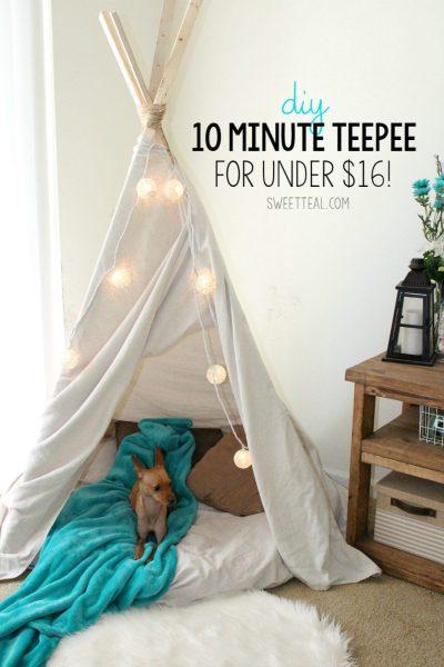 DIY 10 Minute Teepee