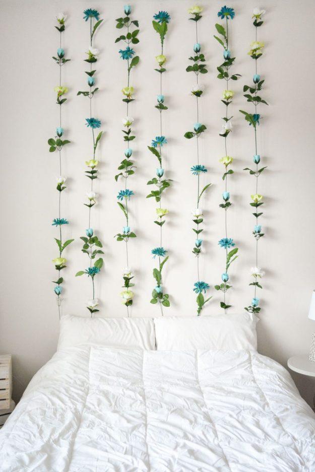 diy flower wall // headboard // home decor   sweet teal