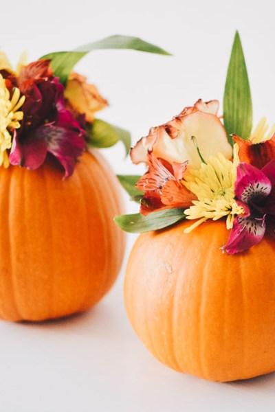 Fall DIY: Flowered Pumpkins