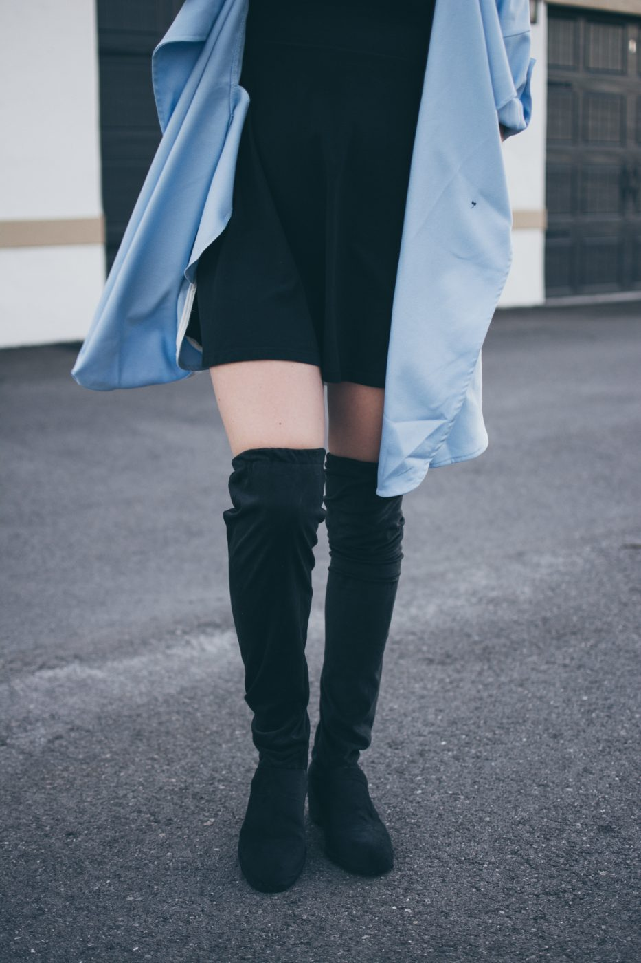 Shein Blue Trench Coat, Black Dress, DIY thigh high boots