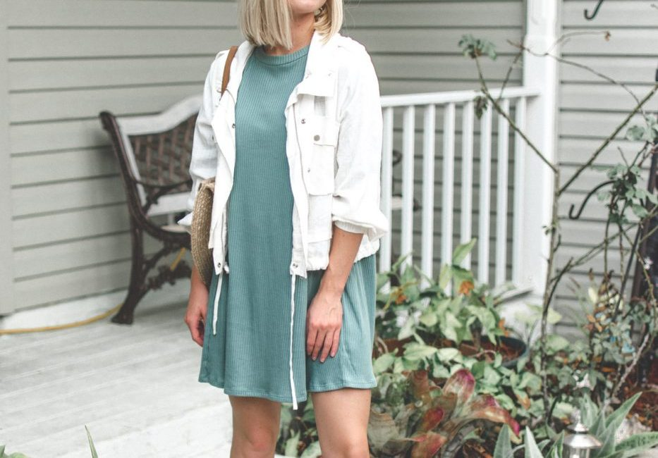 Linen jackets and trapeze dress are the perfect combo