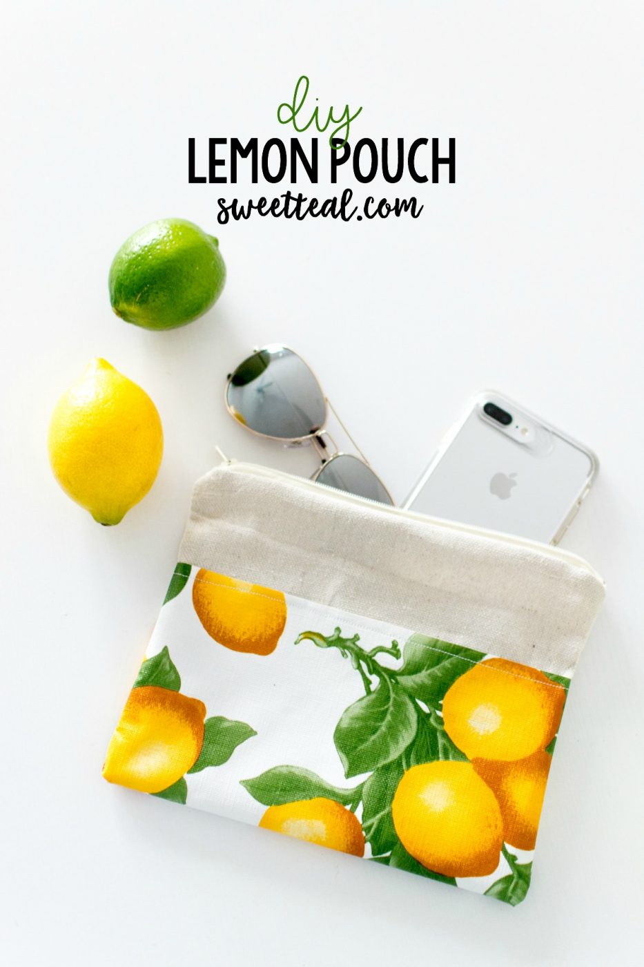 How To Make A Lemon Pouch out of Drop Cloth by Sweet Teal