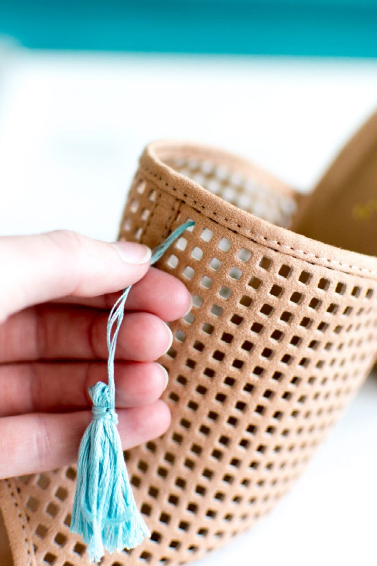 Putting tassels on shoes - Sweet Teal