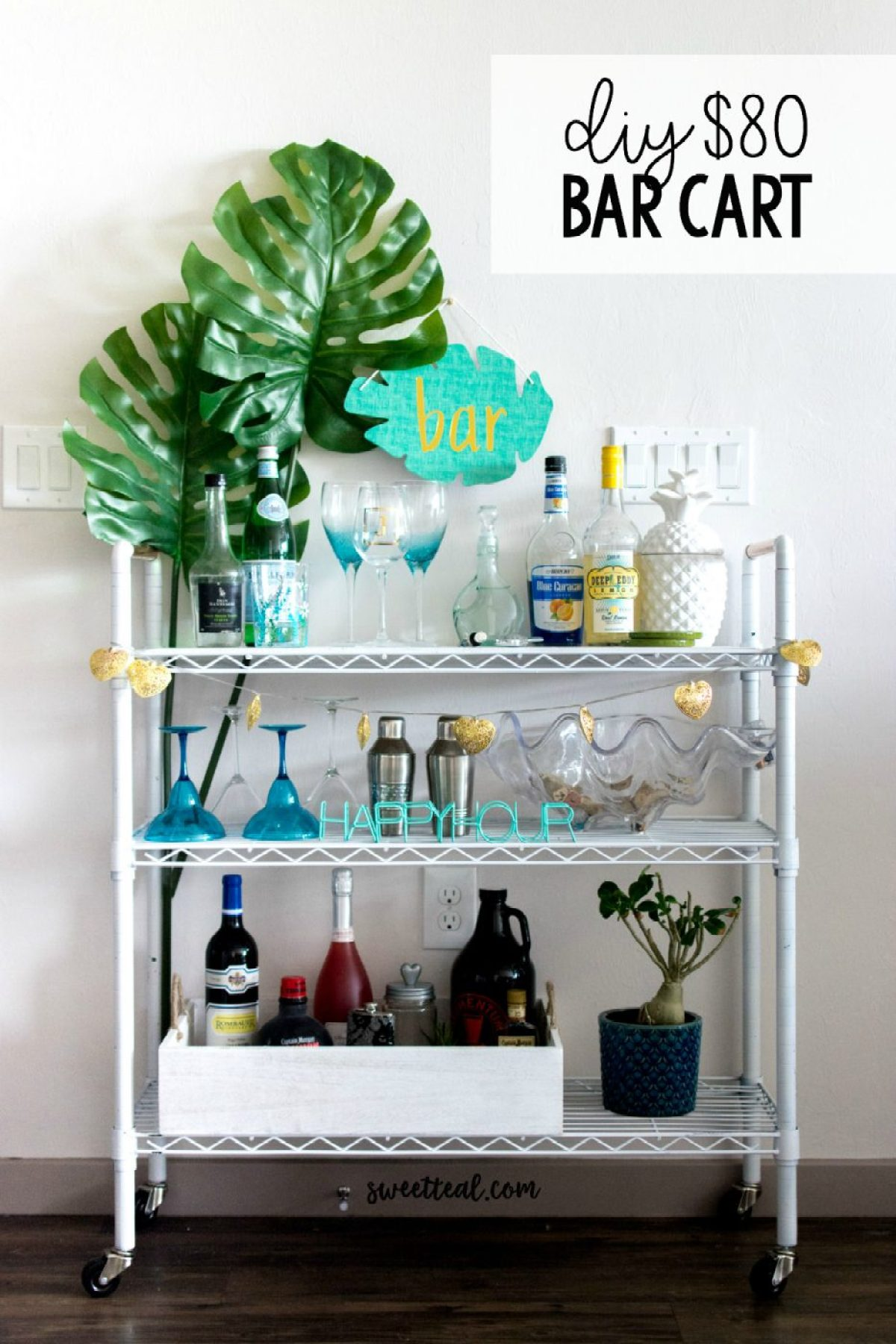DIY $80 Bar Cart by Jenny Bess of Sweet Teal