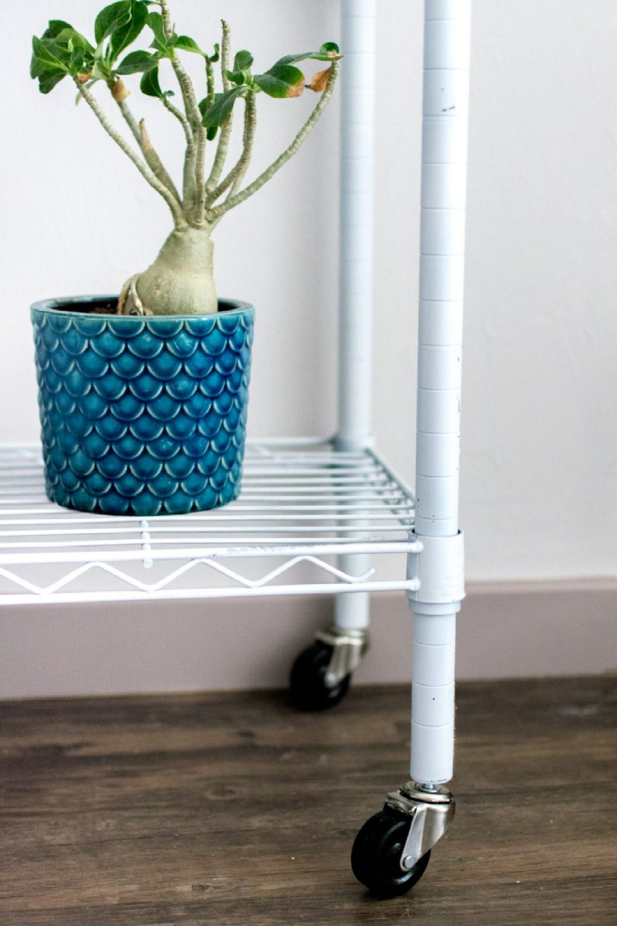 Wheels on DIY Bar Cart - Sweet Teal