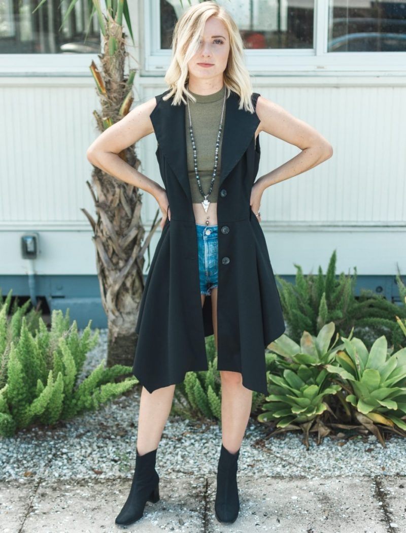 Coalition LA Vest worn with Stuart Weitzman Ankle Boots by Jenny Sweet Teal