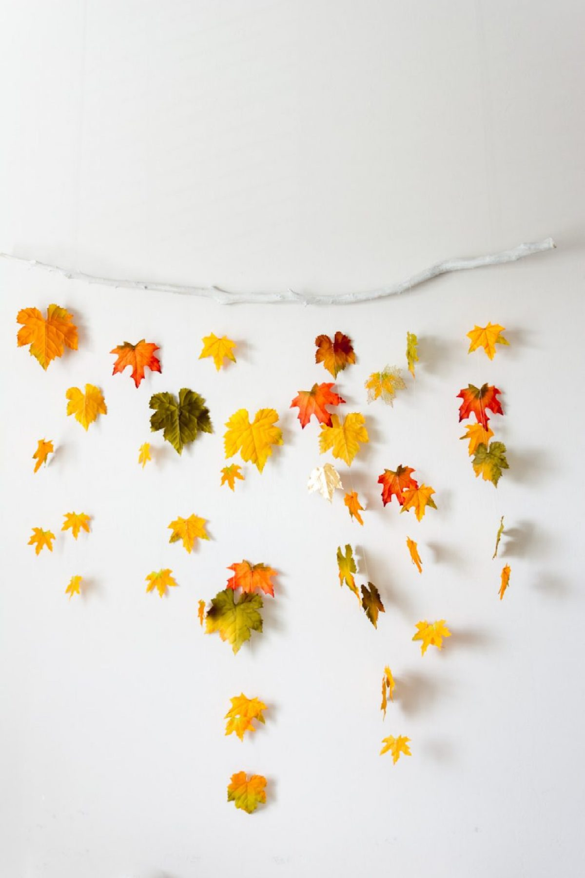 DIY fall decor - leaves on a branch by sweet teal