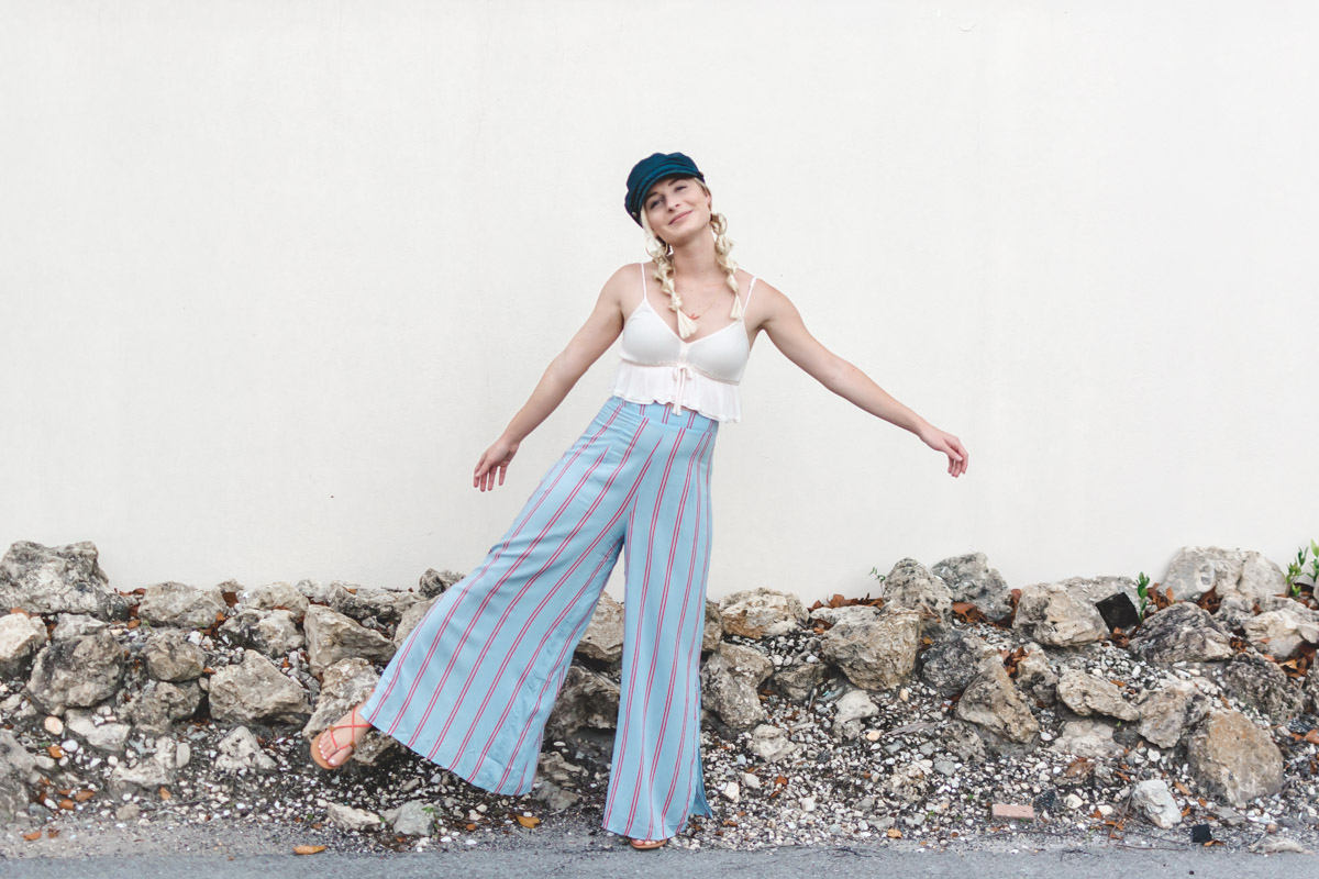 Fisherman Cap and Wide Leg Pants worn by Jenny Bess of Sweet Teal