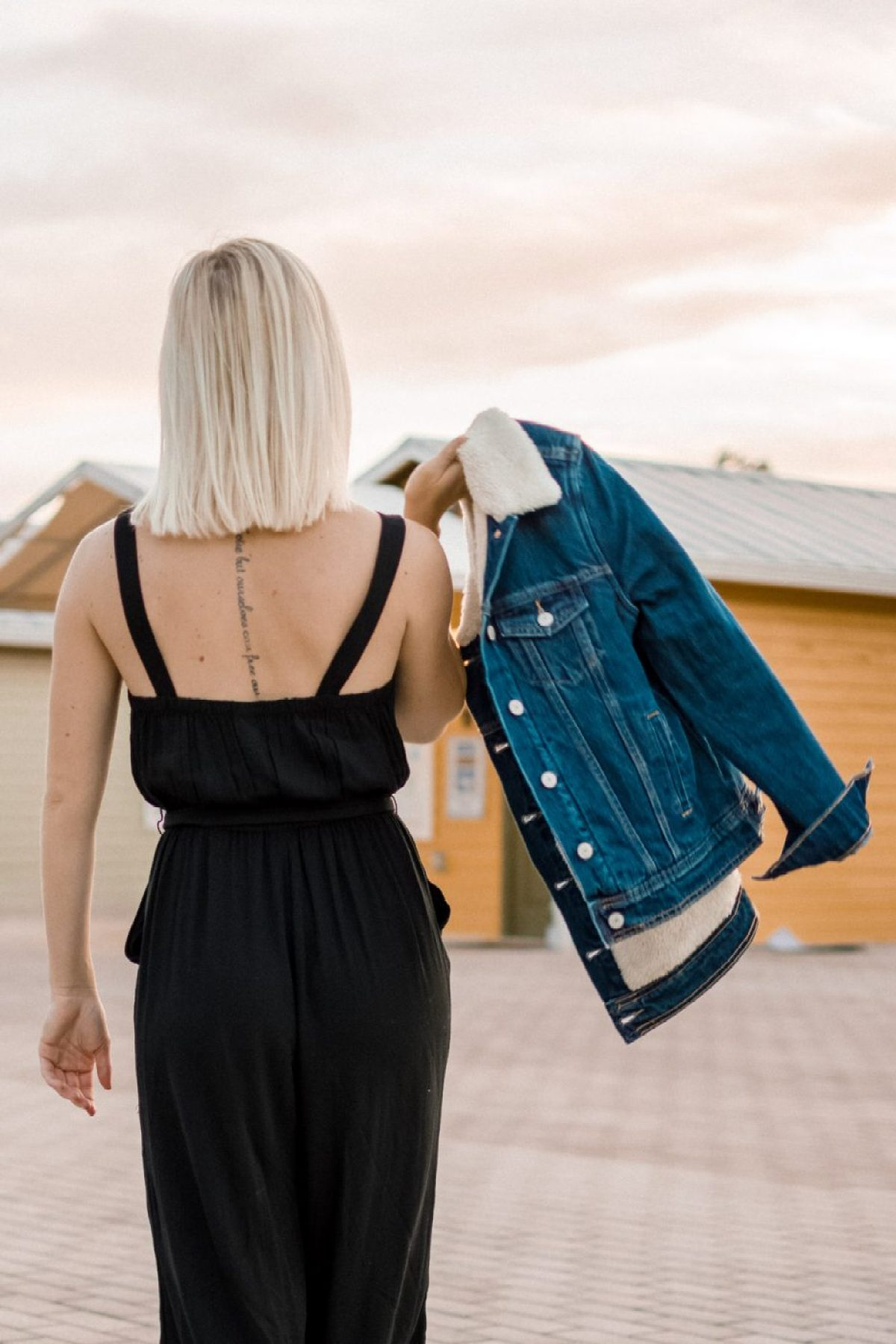 Jenny Bess of Sweet Teal for Old Navy with Sherpa Jean Jacket