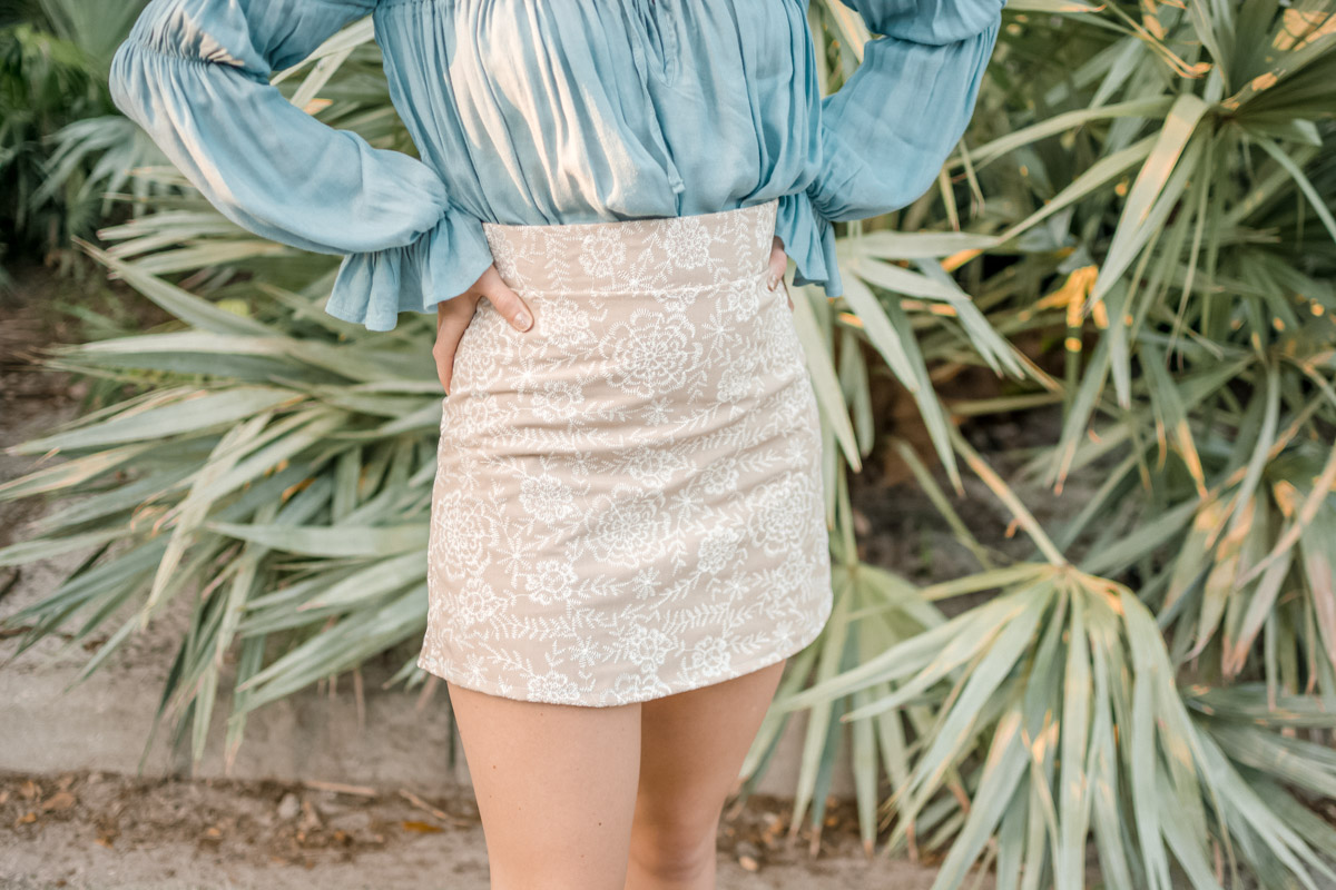 DIY a-line skirt with off shoulder top by sweet teal