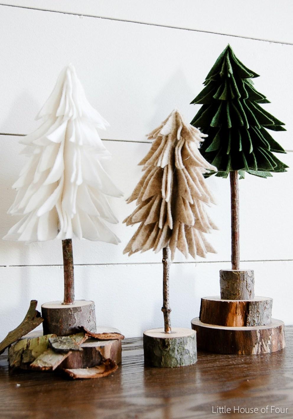 10 DIY Winter Decorations - felt trees