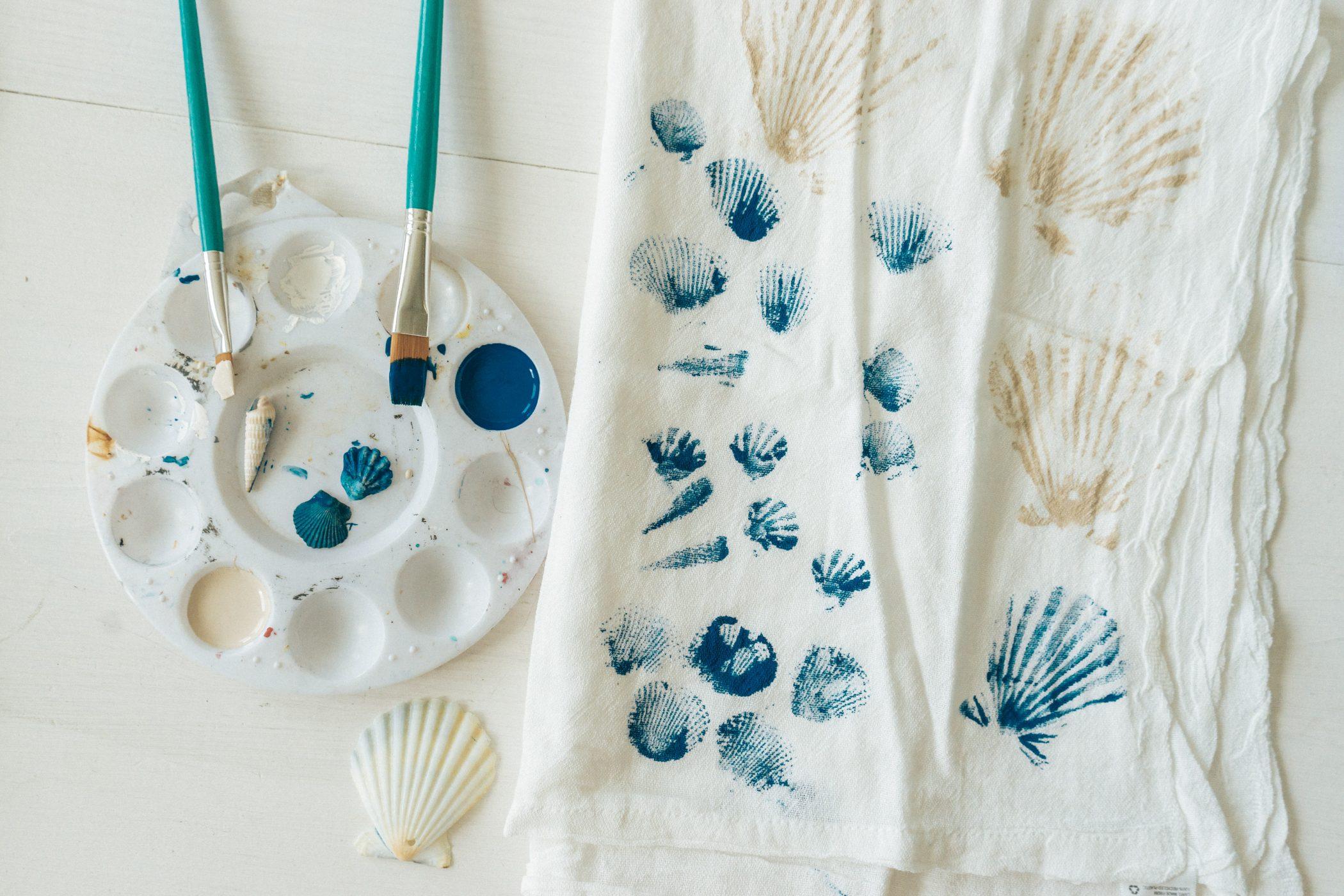 DIY Seashell Stamped Towels Step One
