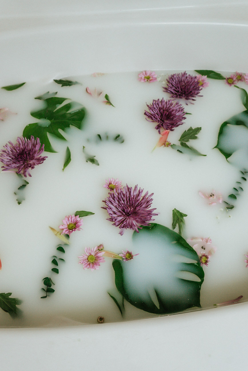 flowers in diy milk bath