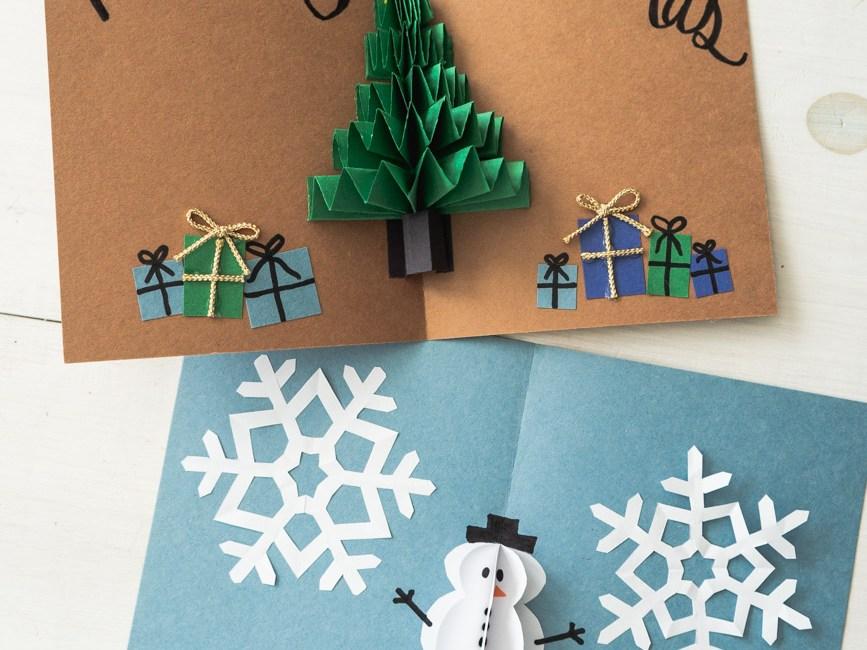 diy pop up christmas cards 2 ways tree card snowman card diy pop up christmas cards 2 ways