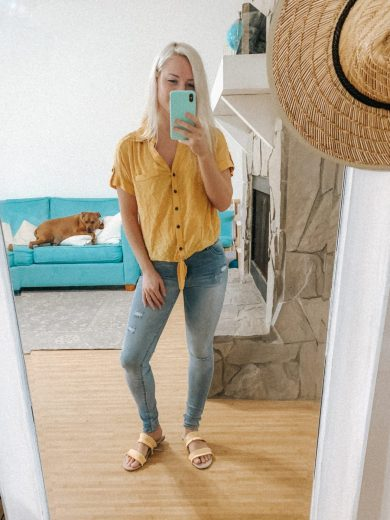 Kohl's Back To School Outfit Ideas - Yellow top and jeans
