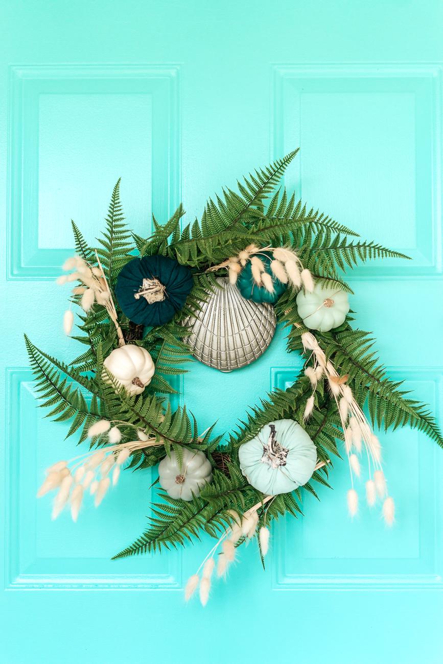 Fall Wreath DIY - Blue Pumpkins and Dried Bunny Tail Grass