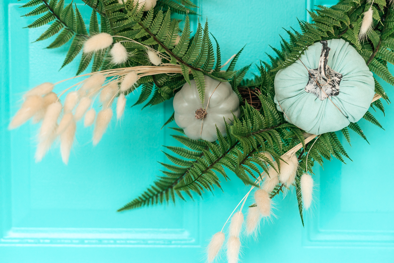 Details of Wreath For Fall Using Blue Pumpkins