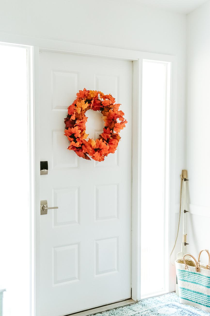 Fall wreath DIY on front door